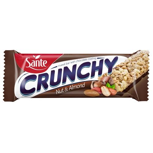 Baton Crunchy z orzechami i migdałami podlany czekoladą 40g