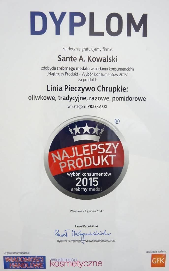 Pieczywo Chrupkie Sante najlepszym produktem roku 2015