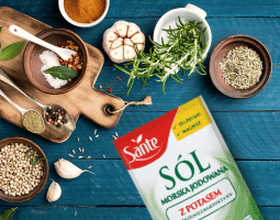 Sól morska jodowana o obniżonej zawartości sodu z dodatkiem potasu i magnezem Sante