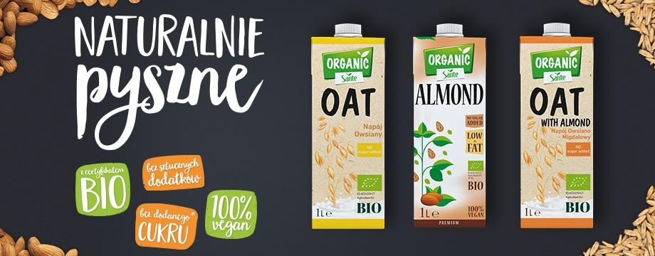 Naturalnie pysznie napoje roślinne Sante Organic
