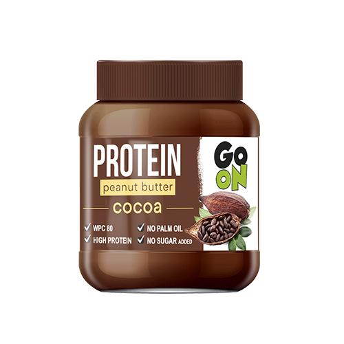 Masło orzechowe GO ON z kakao to smakowity krem orzechowy wzbogacony w najwyższej jakości białko WPC (białko pełnowartościowe).