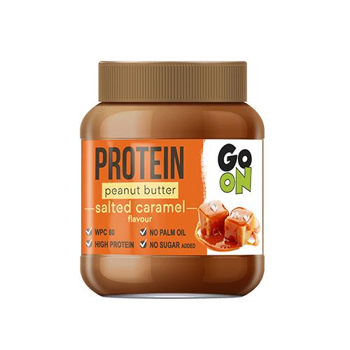 Masło orzechowe GO ON słony karmel to smakowity krem orzechowy wzbogacony w najwyższej jakości białko WPC (białko pełnowartościowe).